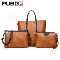 Women Handbags Female Vintage Shoulder Bag High Grade Leather PU Elegant Fashion 3 Piece Set Large