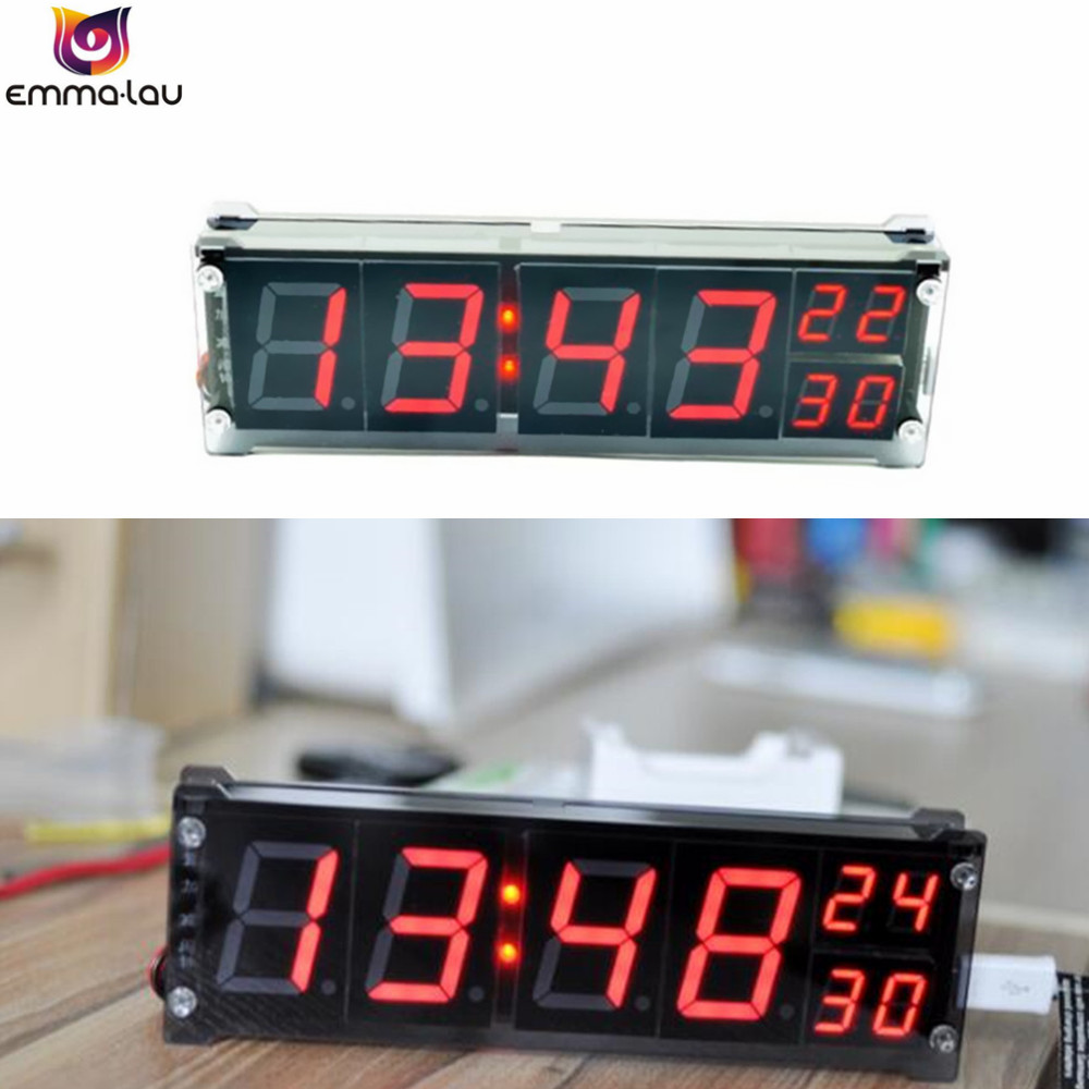 1.2 дюймов Большой цифровой трубки Автомобиля часы яркий светодиодный Температура время сигнализация метр кабинет Настольный Часы DC 5 -35 В