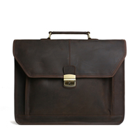 ROCKCOW Men S Genuine Leather Briefcases Men Vintage Crazy Handmade Men Messenger Bag Laptop Bag