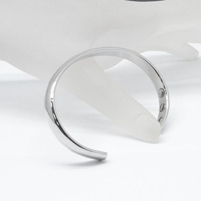 Men women pure copper polished magnetic healing bangles cuff bracelet
