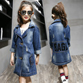 2016 Autumn Baby Girls Fashion Denim Jacket Girls letters pattern Denim Outerwear Jacket Slim and Long Sections Trench Coat Tops