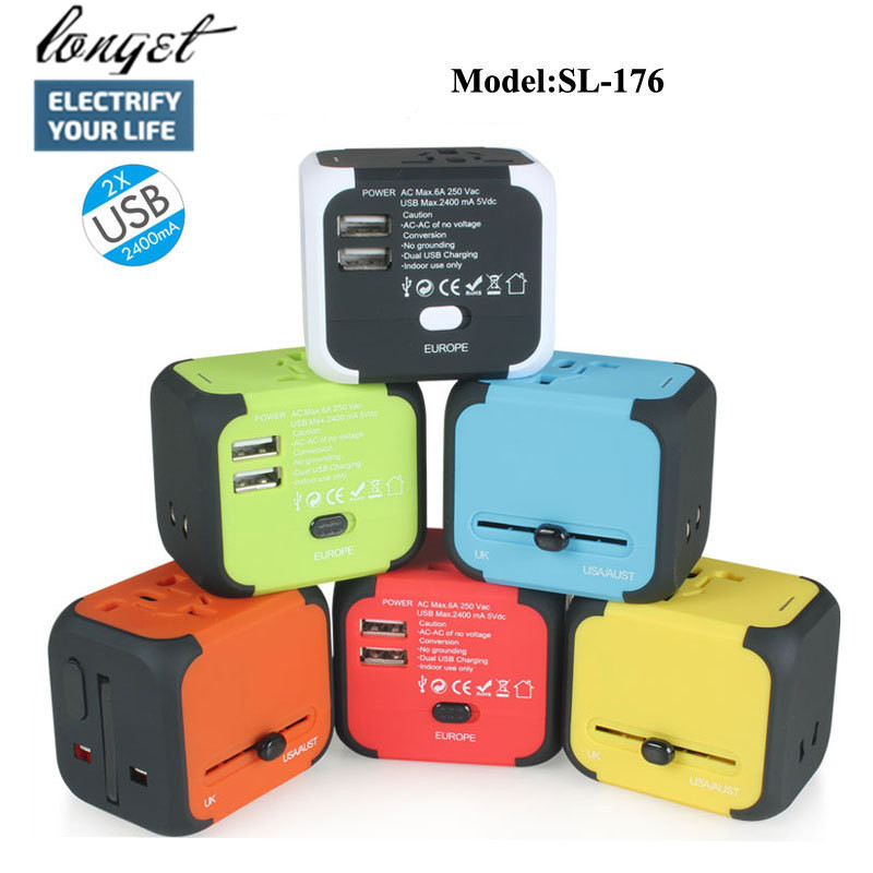 Longet Universal Travel Adapter with 2.4A Dual USB Charger, All in One Worldwide AC Power Adapter Outlets for Europe UK US AU