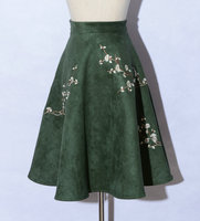 Retro national wind embroidery flowers skirts autumn and winter warm suede in the A-word umbrella skirt