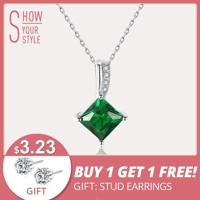 CZCITY Charm Chain Necklace Emerald Green Cubic Zirconia Popular Jewelry 925 Ste