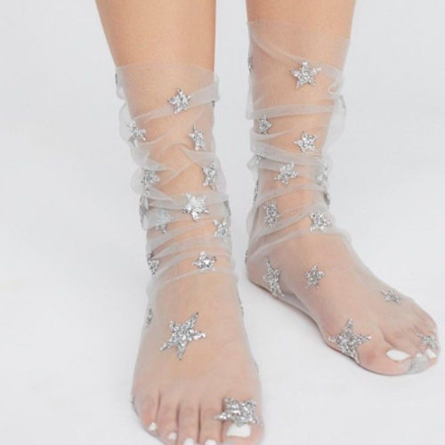 eef1a2b24 Hirigin New Women Glitter Star Soft Sheer Mesh Socks Transparent Fishnet 4  Colors see through Ankle Socks