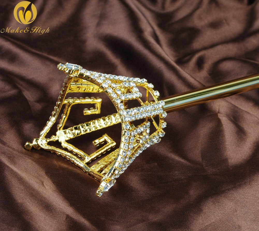 Unisex King Queen Gold Long Sceptre Parade Pageant Party Costumes Men Women Crystal Scepter Wand Handhelds