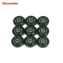 Micromake 3D Printer Parts 9pcs/lot  DIY Black Pulley Parts Pulley Wheel New Injected Plastic Wheel suitable for V-Slot Profile