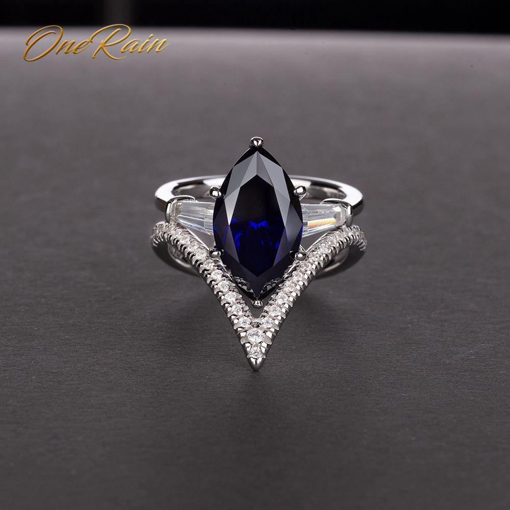 OneRain Vintage 100% 925 Sterling Silver Mariquesa Sapphire Topaz Citrine Wedding Engagement Women Men Ring Jewelry Size 5-12
