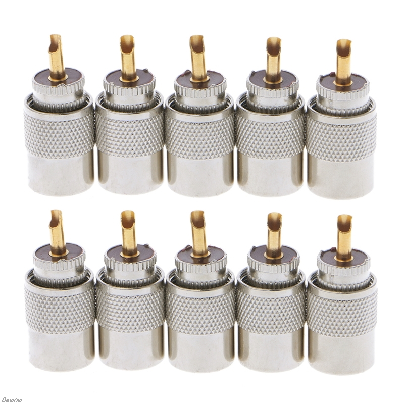 10 Pcs Connector Plugs UHF PL-259 Male Solder RF Connector Plugs For RG8X Coaxial Coax Cable Damom