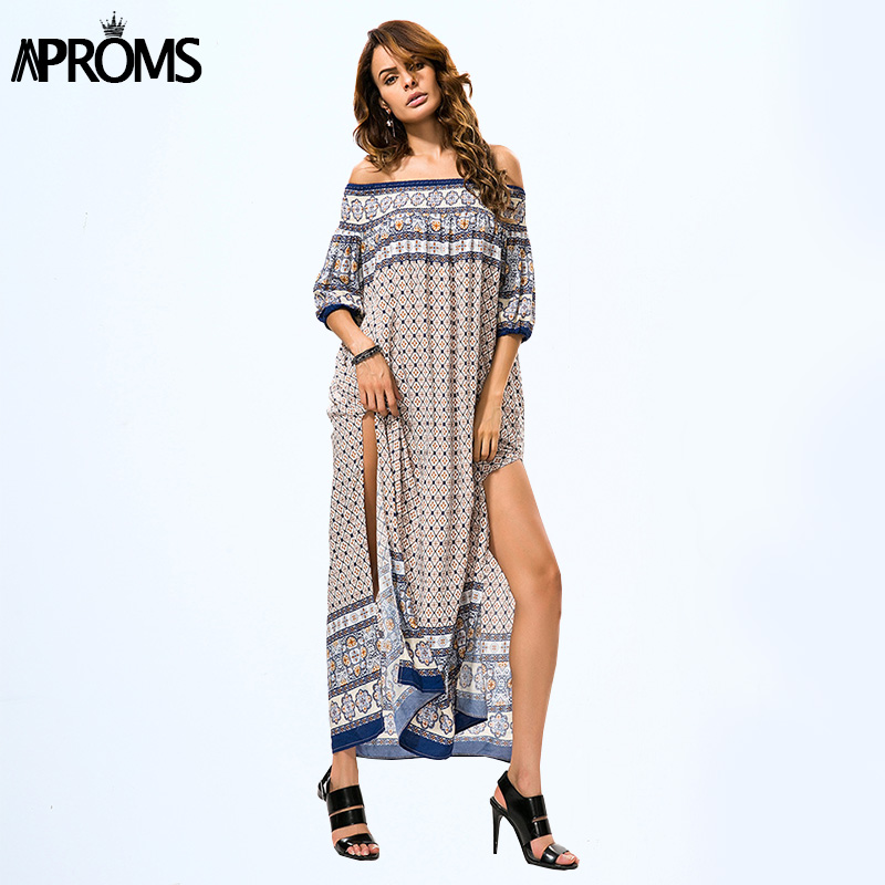 986fcc15e66fe Aproms Summer Paisley Print Maxi Dress Women Boho Off Shoulder High Split  Sexy Beach Dress Eleagnt Loose Long Dresses Vestidos-in Dresses from  Women s ...