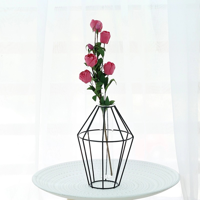 Nordic Metal Vase Glass Hydroponic Plant Container Ornaments Home Decor Accessories Desktop Crafts Fake Flower Iron Vase Gifts in Vases from Home Garden