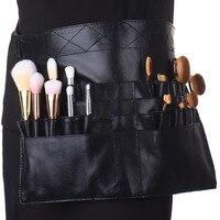 Pro Black PU Makeup Brush Display Holder Case Bag Artist Belt Strap Cosmetic Makeup Brushes PU Holder Apron Bags