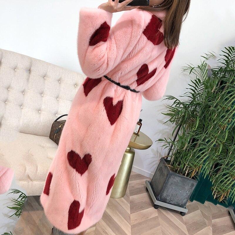 M Coeur Manteaux Impression Rouge Tournent Femmes Naturel Réel Y Le 2019 Fansty Fourrure Importations De Rose Bas Manteau Hiver Vison Vers vSvOZqrxwB