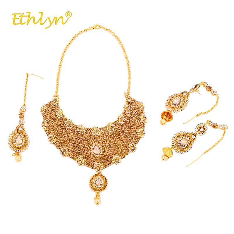 Ethlyn Luxurious India Kundan Wedding Jewelry Decorate with Rhinestone Luxury Necklace/Long Drop Earrings/Headwear Gold Color