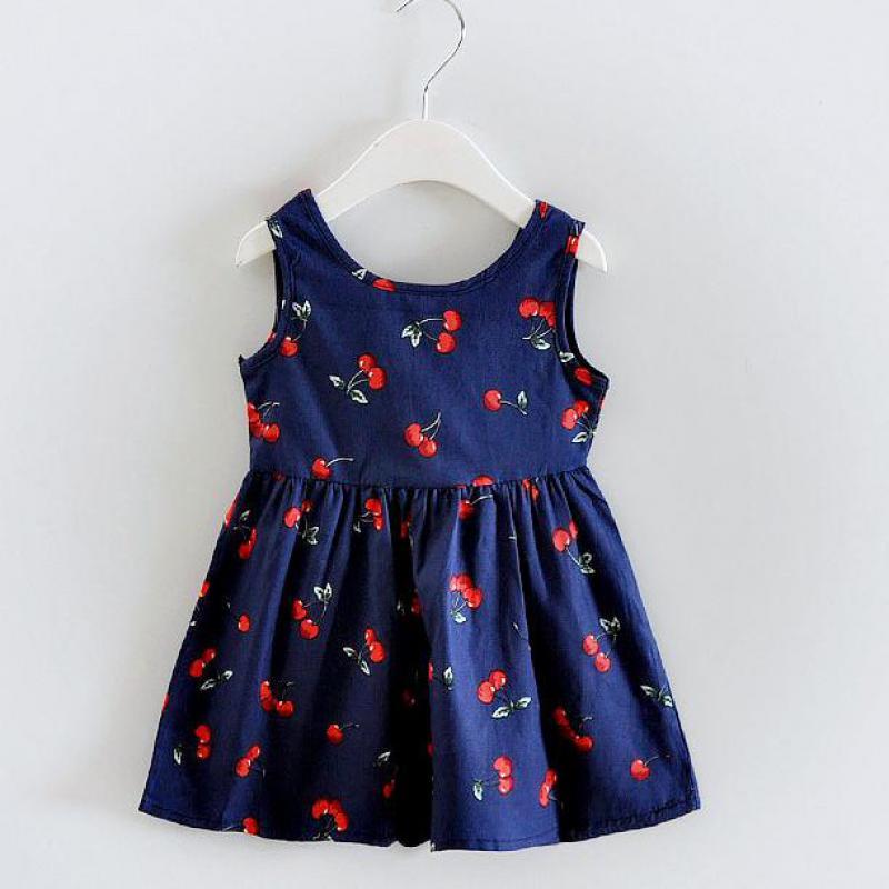Danmok Új Hot Girls Cherry Print ruha ujjatlan kislányok koreai - Gyermekruházat