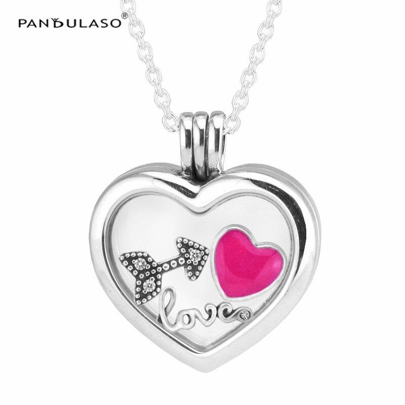 Amour coeur flèche Petites Petites médaillon coeur flottant argent colliers et pendentifs bricolage saint valentin bijoux femmes colliers