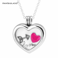 Love Heart Arrow Small Petites Floating Heart Locket Silver Necklaces& Pendants DIY Valentine's Day Jewelry Women Necklaces