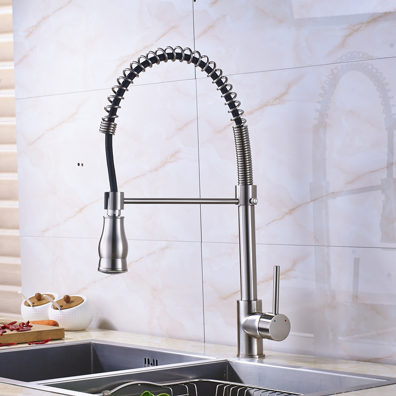 Luxury Brushed Nickel Pull Down Kitchen Mixer Tap Swivel Spout Single Lever Spring Kitchen Sink Faucet