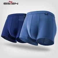 Seven7 Brand Men Underwear Boxers 2 Pcs Set Nylon Comfortable Plaid High Elastic Boxers Men Sexy