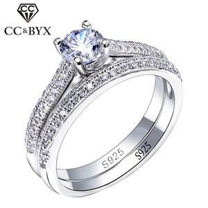 CC 925 Серебряные кольца для женщин простой дизайн двойная Штабелируемая мода ювелирные изделия Свадебные наборы обручальное кольцо аксессу...