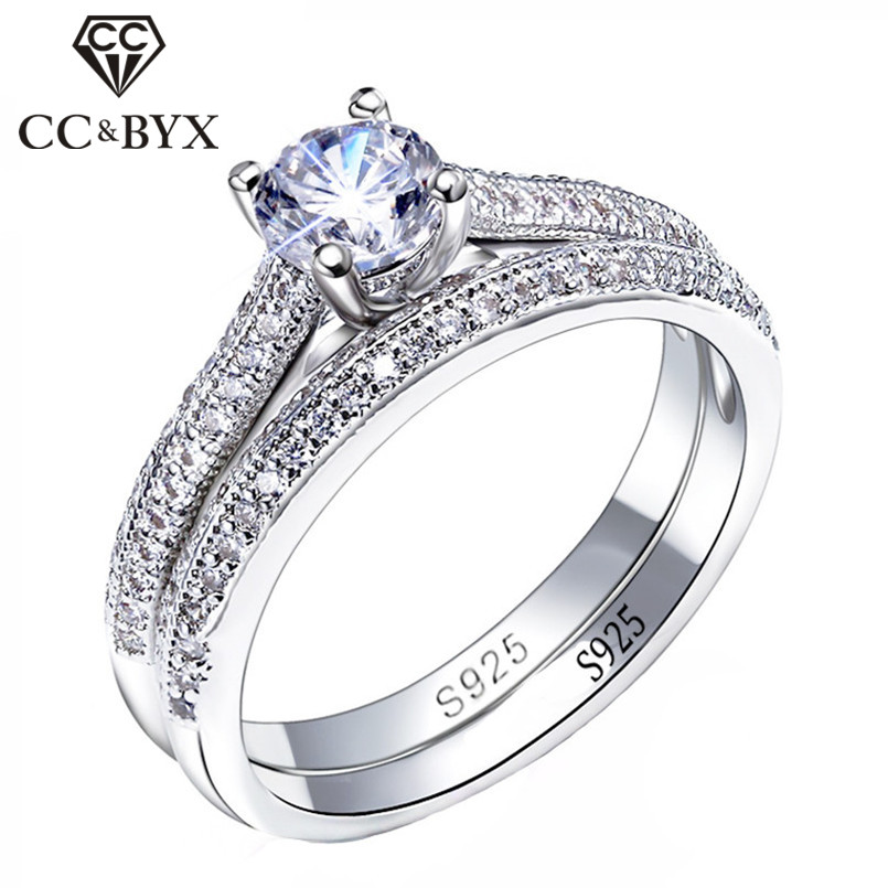 Anillos de plata 925 CC para mujer, diseño Simple, doble apilable, joyas a la moda para novia, conjuntos de anillo de compromiso de boda, accesorio CC634