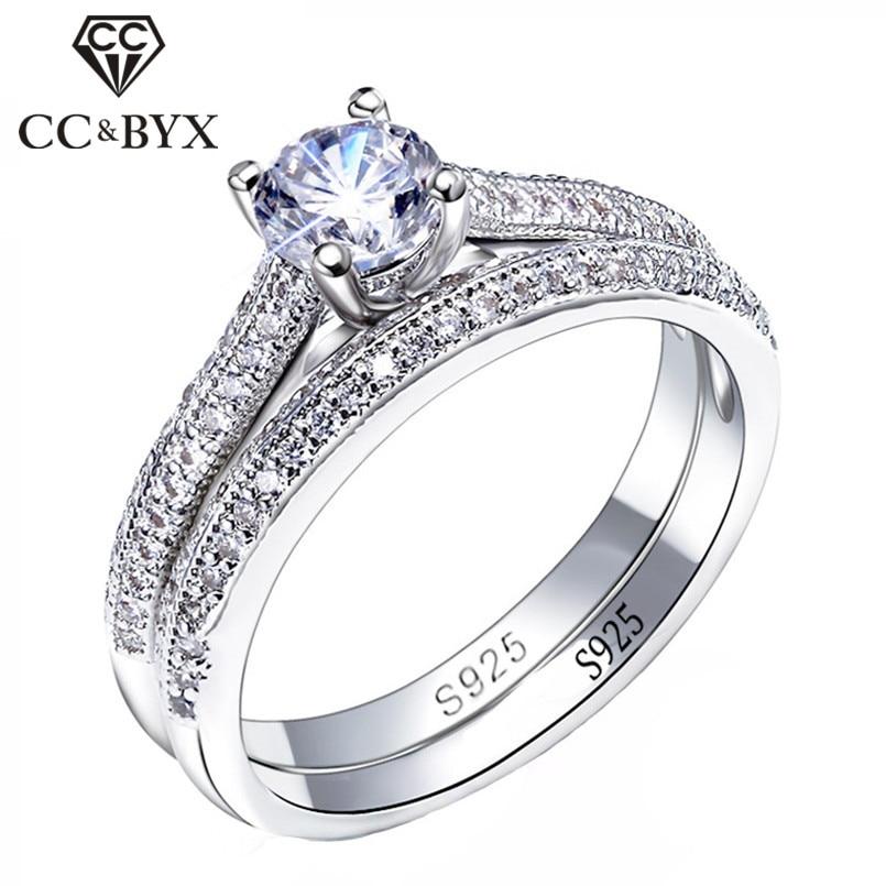 CC 925 Silber Ringe Für Frauen Einfache Design Doppel Stapelbar Mode Schmuck Braut Sets Hochzeit Engagement Ring Zubehör CC634