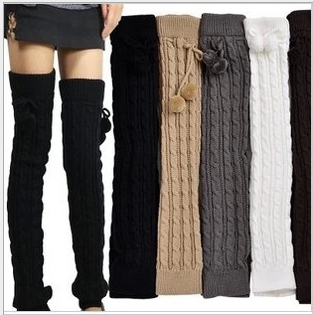 65cm Long Winter Thicken Leg Warmer Cotton Knee Stockings Boot Covers Loose Twist Ball Women Wear Solid White Black Gray Khaki