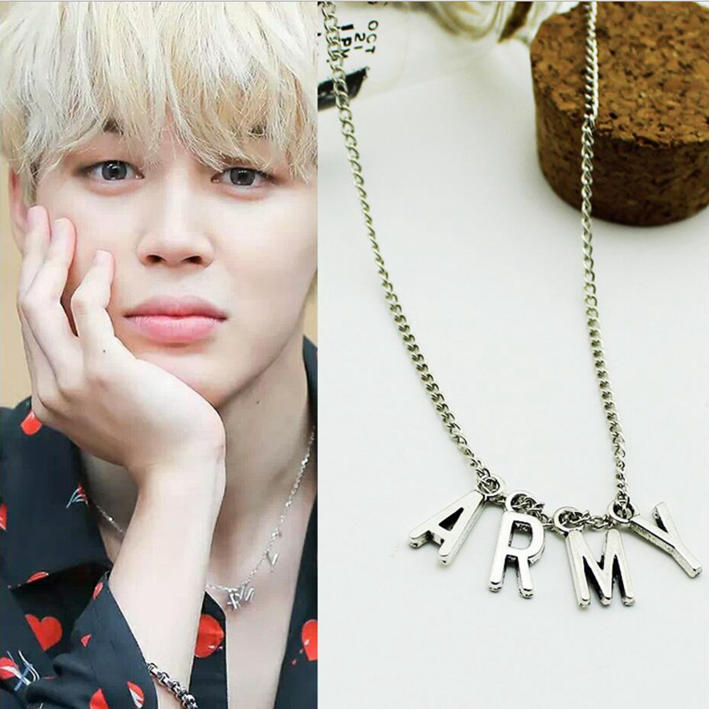 LMIKNI BTS Kpop ARMY Necklace Women Men Jewelry Collier Korea Fashion BTS A..