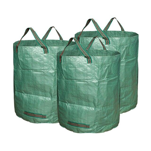 3pcs Garden Waste Bags Reuseable Heavy Duty Gardening Lawn Pool Leaf Bag