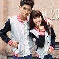 En el otoño de 2014 nuevas parejas de Corea del vestido de manga larga chaqueta de uniforme de béisbol servicio de clase camisa de los hombres y las mujeres