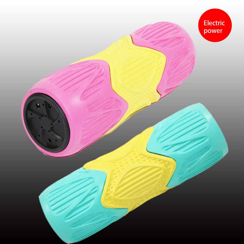 Pink Vibrating Massage Foam Roller Trigger Point Crossfit Electric Yoga Foam Roller for Muscle Relaxation and Physical Therapy 30cm 15cm electric vibration eva foam roller floating point fitness massage roller 3 speed adjustable for physical therapy