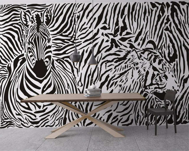Beibehang Custom Wallpaper Zebra Retro Floral Animals Great Abstract Decorative Painting Background Wall D Wallpaper Mural