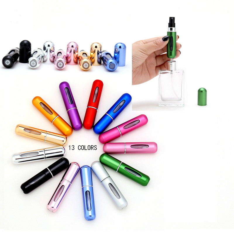 5ml Refillable Mini Perfume Spray Bottle Aluminum Spray Atomizer Portable Travel Cosmetic Container Perfume Bottle