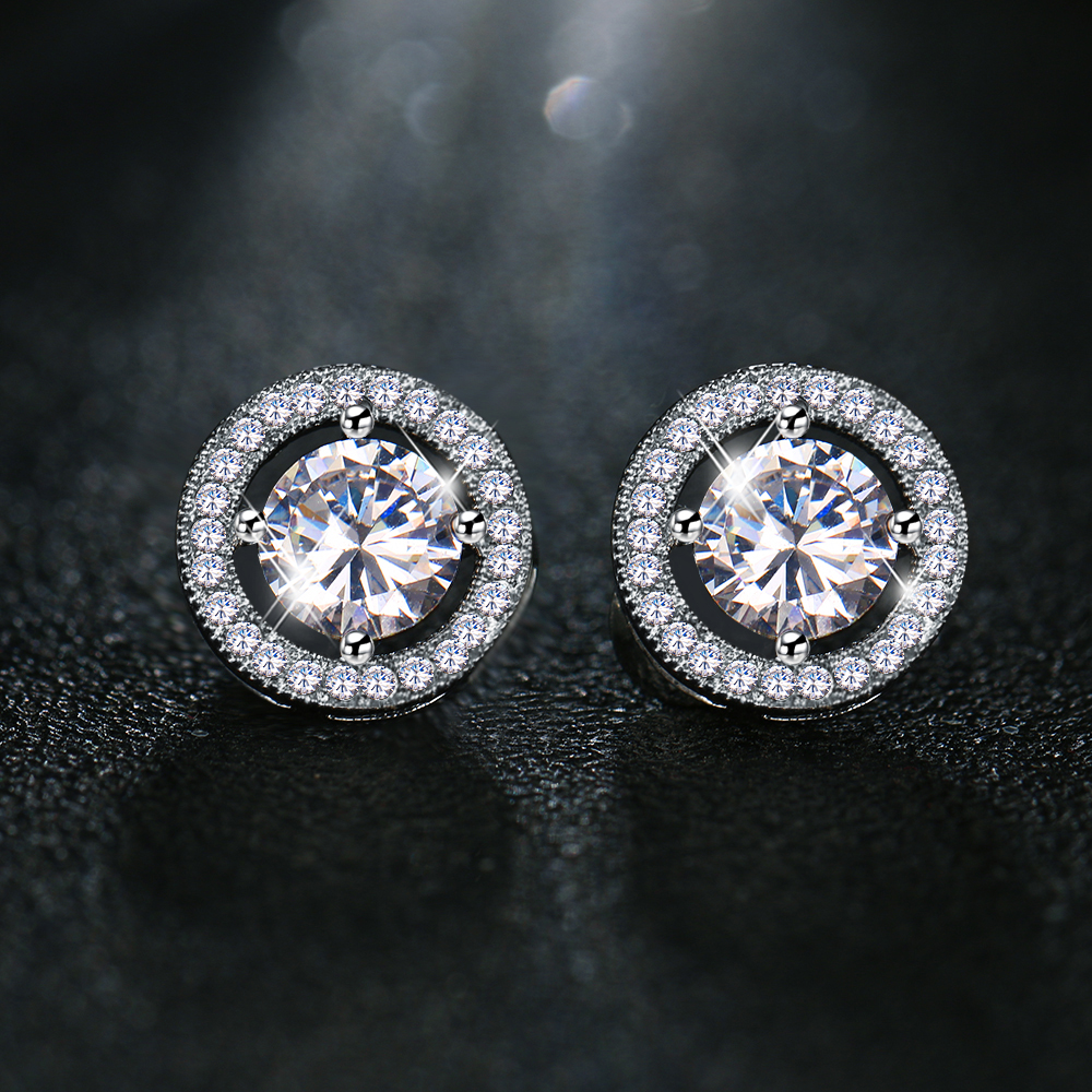 White Gold Color Sparkling Cubic Zirconia Stone Round Shape Stud Earring  For Women Jewelry Boucle D oreille Pendientes Mujer 88fbfacfd642