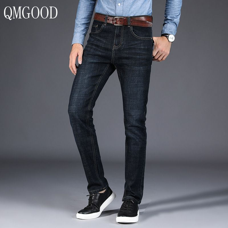 QMGOOD High Quality Men's Fashion Casual Autumn Large Size Slim Straight Jeans Men Business Casual Denim Pants  Trousers 40 42 fongimic new men clothing summer thin casual jeans mid waist slim long trousers straight high quality men s business denim jeans
