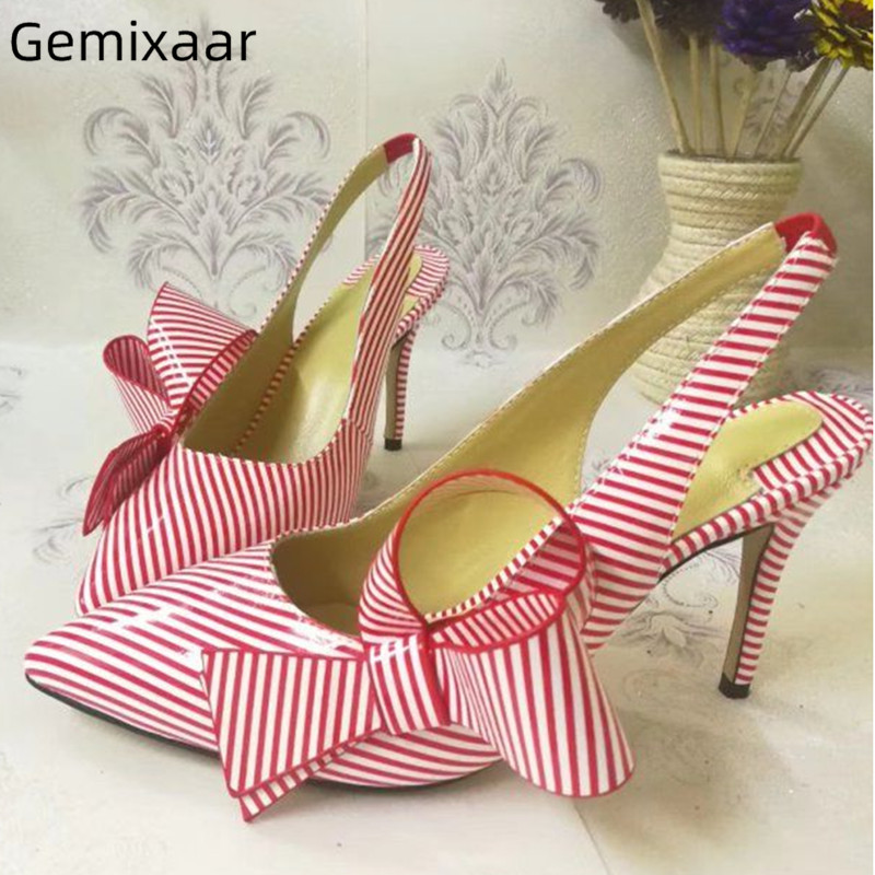 Side Butterfly-knot Sandals Shoes Women Point Toe Slim Shallow High Stiletto Heels Sandalias Sweet Pink Gingham Slippers WomanSide Butterfly-knot Sandals Shoes Women Point Toe Slim Shallow High Stiletto Heels Sandalias Sweet Pink Gingham Slippers Woman