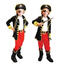 2017 Children Boys Kid Caribbean Pirates Cosplay Costume Halloween Carnival Fancy Dress Performance Wear Clothing Party Supplies