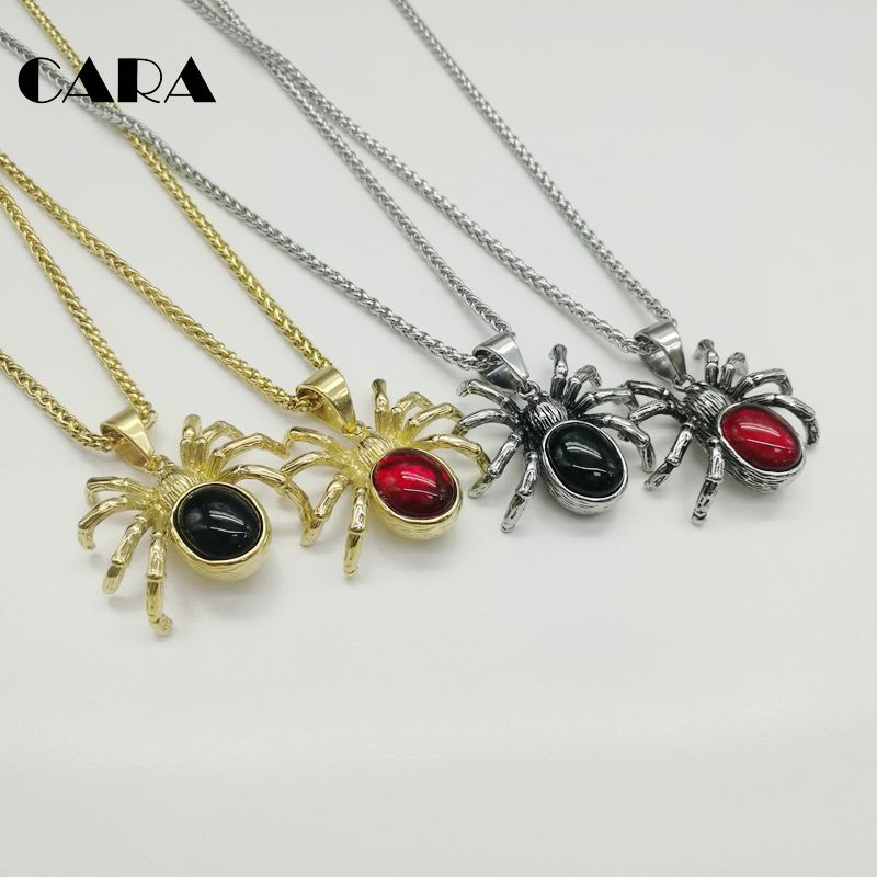 2019 new arrival red stone spider pendant necklace 316L stainless steel hip  hop necklace alloween spider 4828ddb3e633