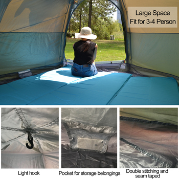 Desert&Fox 3-4 Person Dome Automatic Tent, Easy Instant Setup Protable Camping Pop-Up 4 Seasons Backpacking Family Travel Tent 2