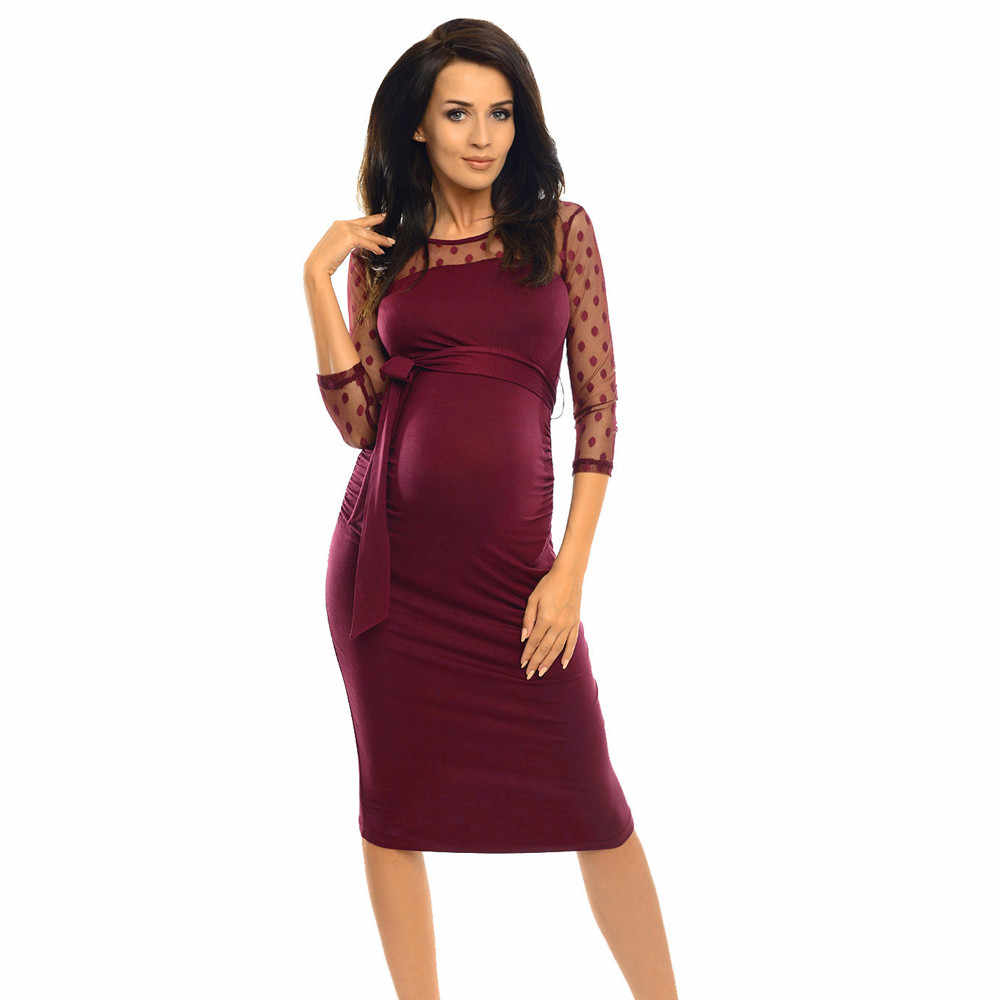 Women Maternity Ruched Pregnancy Dress Lace Dot Cropped Sleeve Maternity Dress Sexy Elegant Pregnant Clothing Suit For Women