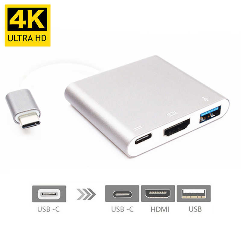 4K USBC 3.1 Hub Converter USB C Type To USB 3.0/HDMI/TypeC Female Charger AV Adapter for Macbook/Dell XPS 13/Matebook Laptops