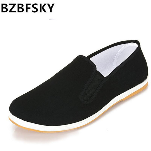 Chinese kung fu Bruce lee old Beijing style of hand-made cloth shoes male/female black breathable antiskid casual shoes
