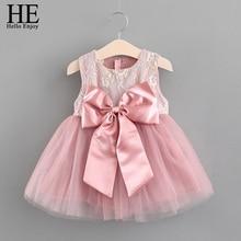 HE Hello Enjoy Baby Girl Dress 1 Year Birthday Party Dress Pink Sleeveless Bow Princess Tutu Dress For Babies Clothes Batismo