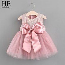 HE Hello Enjoy Baby Girl Dress 1 Year Birthday Party Dress Pink Sleeveless Bow Princess Tutu Dress For Babies Clothes Batismo