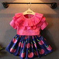 2016 Children Summer Baby Girls Clothing Set Ruffle Pink T shirt +Cherry Pleated Skirts 2pcs Clothes Suits Kids Clothes