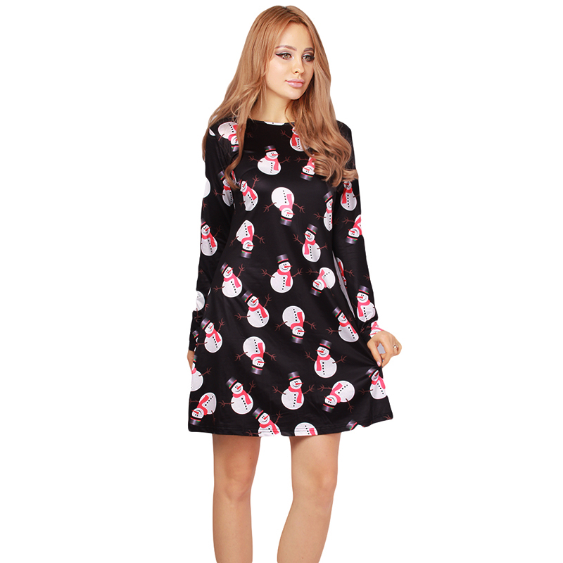 fashion 2017 christmas festival clothing women mini dress party a line printed cartoon dresses new year gift nq860580 in dresses from womens clothing