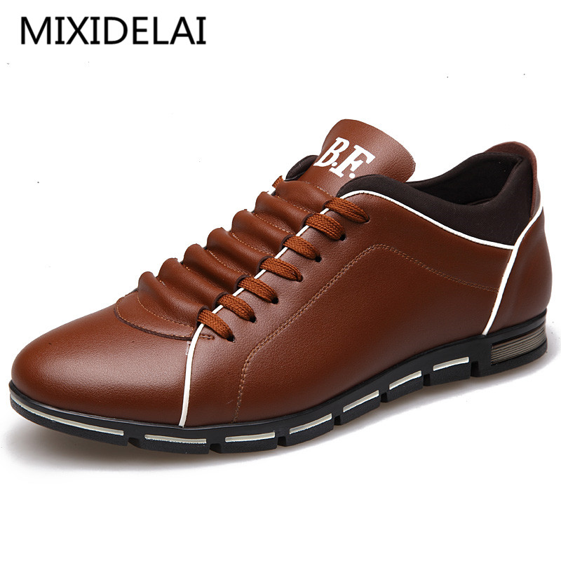 MIXIDELAI 2018 Spring Autumn New England Mens Casual Shoes Brand Men Leather Breathable Shoes Solid Fashion Flats For Male