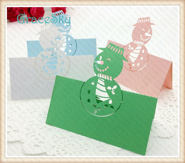 50hot sale laser cutting christmas invitation paper table cards