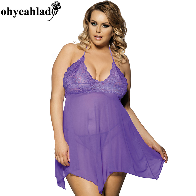 Buy RS7130 Ohyeahlady lingerie sexy lace printed solid lavender baby doll sexy lingerie super deal tempting plus size lingerie