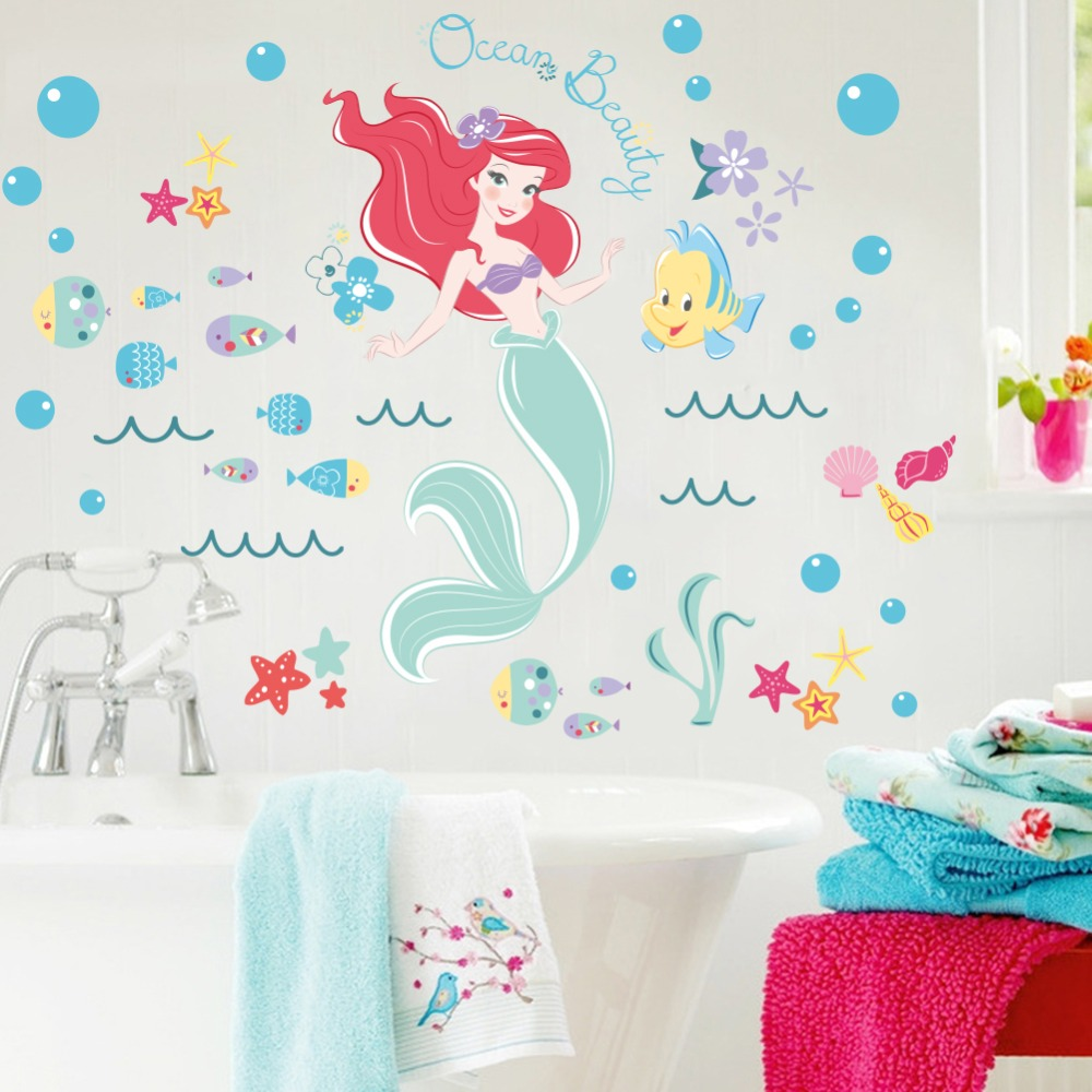 Mermaid bathroom decor for kids - Underwater Fish Bubble Ocean Beauty Mermaid Wall Stickers Cartoon Wall Decals Bathroom Kids Nursery Bedroom Home